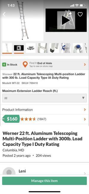 Ladder 22Ft Aluminium ,Escalera de 22 pies de aluminio for Sale in Columbia, MD