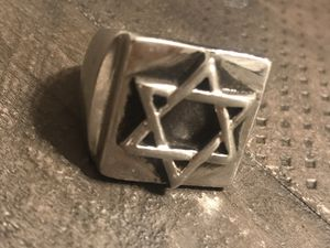 Star of David Mens Stainless Steel Ring Absolutely Stunning Very Heavy Gently Used for Sale in Riverside, CA