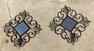 Wall sconces, mirrored, with spot for candle for Sale in Buena Park, CA