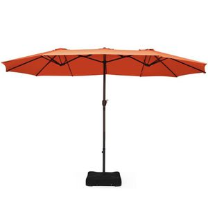 15 ft. Market Double Sided Umbrella Outdoor Patio Umbrella with Crank and Base Orange for Sale in Brea, CA