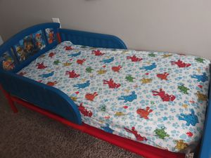 Nick jr Paw Patrol childrens Toddler Bed Frame & mattress plastic for Sale in Duluth, GA