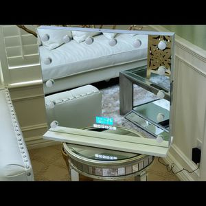 Large Bluetooth Mirror Vanity Makeup With Lights, Hollywood Lighted Mirror With 3 Color Lighting Modes, 14 Dimmable Bulbs, USB Outlet and Smart Touch for Sale in Sacramento, CA