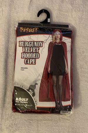 Burgundy velvet hooded cape for Sale in Seattle, WA