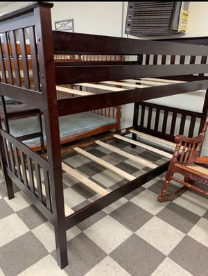Brand new twin over twin bunk bed with trundle $380 no mattress for Sale in Hollywood, FL