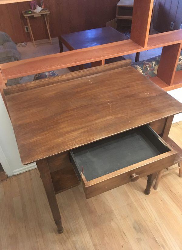 Small Wooden Desk L31, W21 Single Drawer