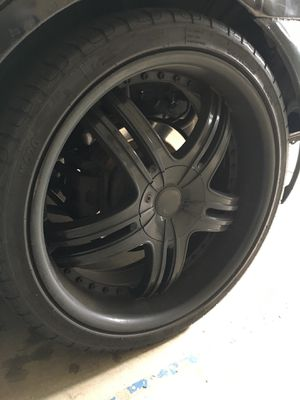 20 inch black rims and tires set of 5 rims an tires for Sale in Fresno, CA