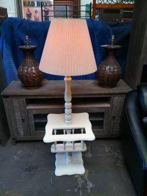 White Wood Floor Lamp with Magazine Rack for Sale in Brandon, FL