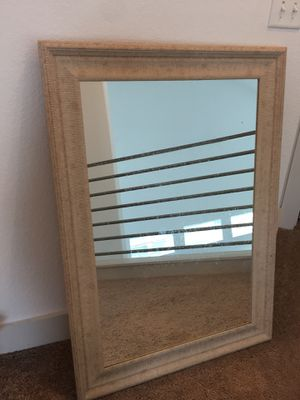 Large light wooden carved hanging wall mirror for Sale in Austin, TX