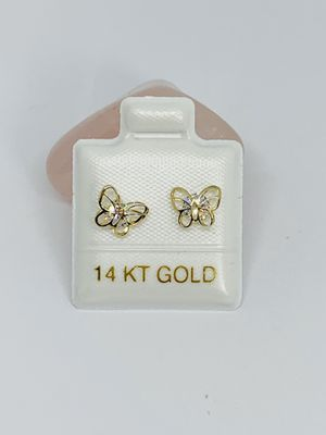 Real 14k Gold Earrings Butterfly Studs White Cubic Zirconia New Jewelry Aretes de Mariposa for Sale in Houston, TX