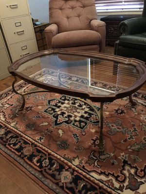 Vintage Brass, Glass and Wood Coffee Table for Sale in Marshall, TX