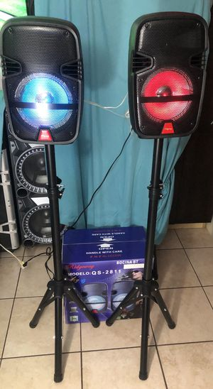 SPEAKERS Bluetooth bocina DUAL PAIR TAilgate 🚥🎁 microphone🎤 BLUETOOTH. USB. SD CARD. Inputs for electric guitar.🎸. FM RADIO for Sale in Phoenix, AZ
