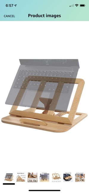 Laptop Stand, Foldable Wooden Laptop Riser Adjustable Computer MacBook Stand for Desk Portable Universal Notebook Laptop Holder with Multiple Angles for Sale in Corona, CA