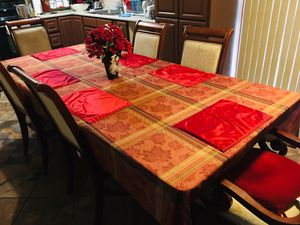 ♦️-NICE- FAMILY DINING TABLE- W- SIX CHAIRS- SOLID WOOD-CHERRY COLOR EXCELLENT FOR ALL FAMILY ‼️ for Sale in Phoenix, AZ