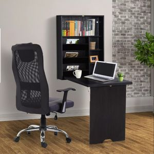 Wall Mount Writing Table Folding Computer Desk Space Saver Storage Home Office Espresso Brown for Sale in Los Angeles, CA