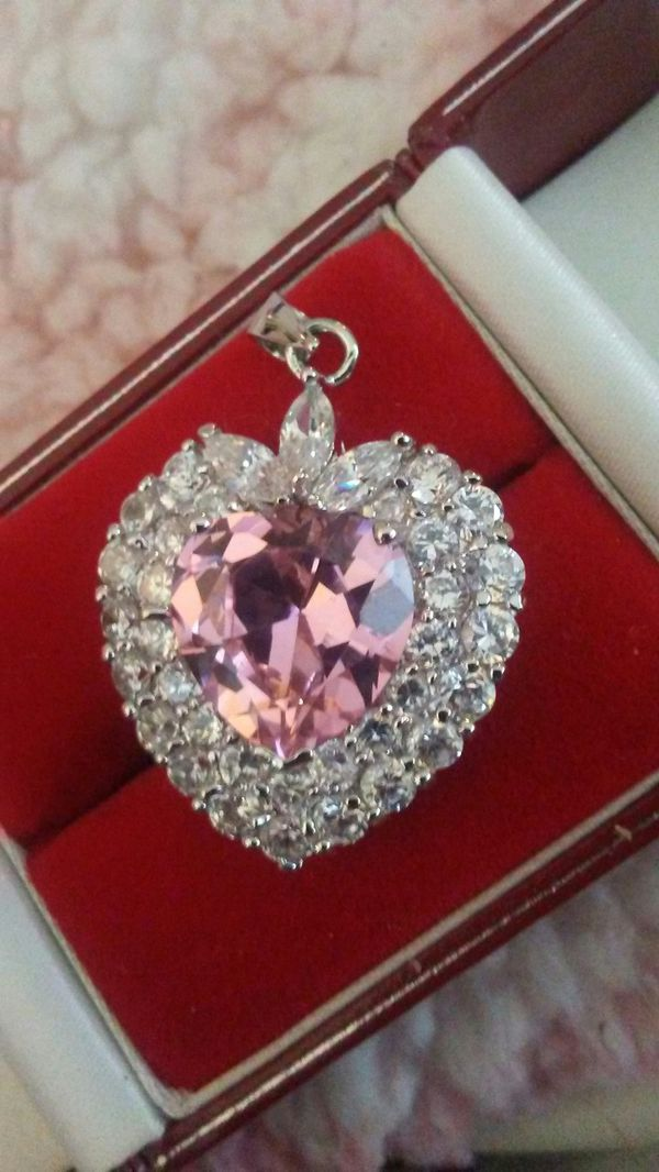 Pink CZ Heart Ring And Pendant