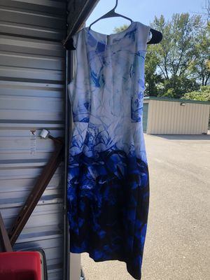 Calvin Klein, sheath sleeveless dress, white, blue and black pattern, size 4 for Sale in Allison Park, PA
