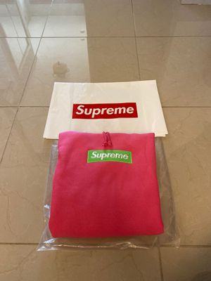 SUPREME BOX LOGO HOODIE PINK AND GREEN SIZE L for Sale in Dearborn, MI