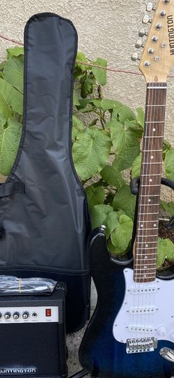 blue burst huntington electric guitar with case cable strap and amp for Sale in Commerce,  CA