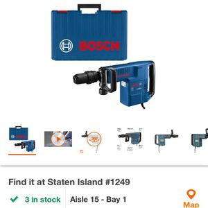bosch demolition drill cost on it is 730plus tax it goes up to 800 for Sale in Clifton, NJ