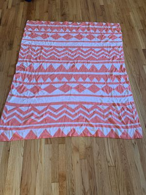 Cozy coral and white throw blanket for Sale in Brookline, MA