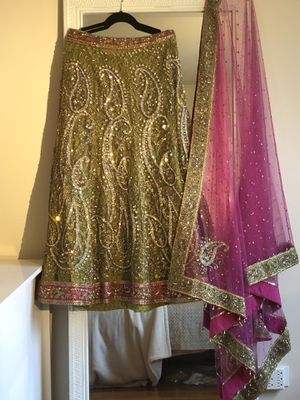 Beautiful Lime Green and Pink Indian Lehenga Set for Sale in Washington, DC
