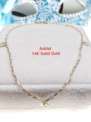 14K solid Gold Anklets Oval Cut Dangle with 3 hollow round accents for Sale in Ontario, CA