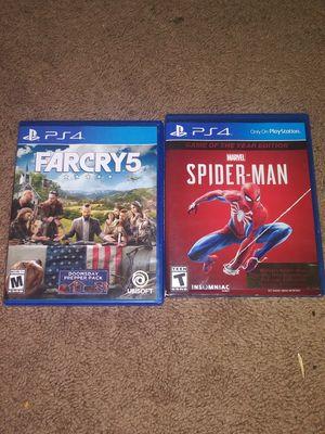 PS4 GAMES:FARCRY 5 /SPIDER MAN GAME OF THE YEAR EDITON/20 dollars each for Sale in Elma, WA
