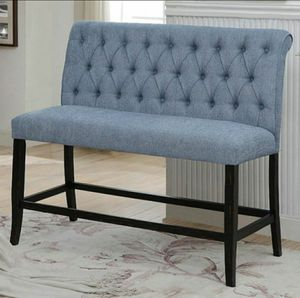 Transitional Fabric Counter Dining Bench in Blue for Sale in Chino, CA