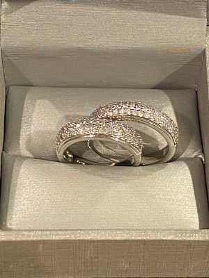 Stamped 925 Sterling Silver Matching Diamond Ring Set- Unisex for Sale in Houston, TX