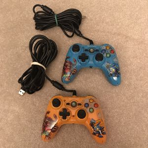 Xbox 360 Skylanders blue orange wired controllers by Power A cleaned and work for Sale in Burtonsville, MD