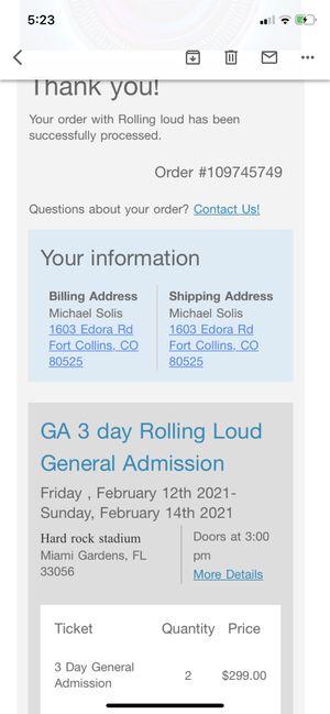Rolling loud GA tickets for Sale in Miami, FL
