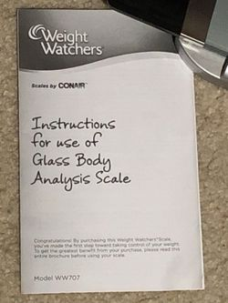 Weight Watchers Glass Body Analysis Scale Model Ww707 for Sale in North Bend,  WA