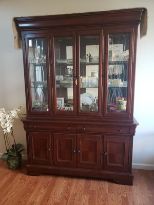 Very nice wood china cabinet in awesome condition $400 for Sale in Fresno, CA