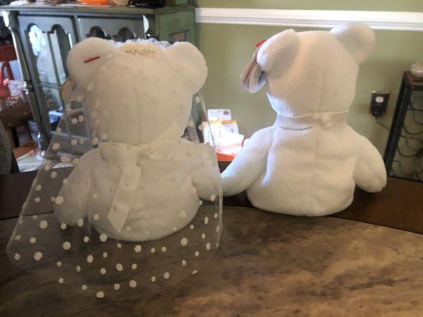 TY Beanie Baby Bride And Groom Bear Set