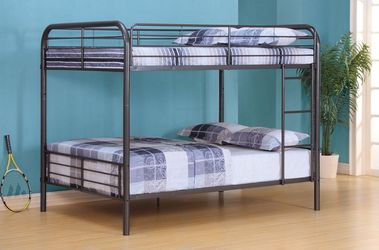FREE DELIVERY * GUN METAL FINISH FULL OVER FULL SIZE BUNK BED FRAME for Sale in Bell Gardens,  CA