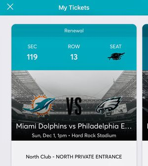 Miami Dolphins vs Philadelphia Eagles - 2 or 4 club tix for Sale in Coral Springs, FL
