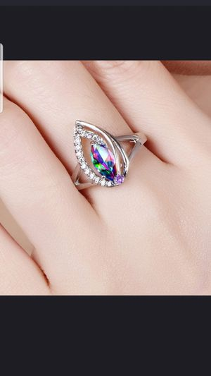 Sterling silver mystic topaz and white sapphire ring size 8 for Sale in Baltimore, MD