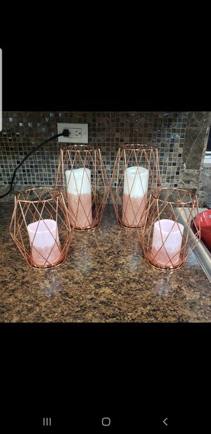 Set of 2 rose gold candle holders for Sale in Miami, FL