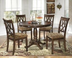 Lehlyn - 5pc round dining room table and 4 uph side chairs for Sale in Orlando, FL