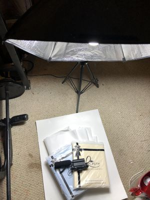 Camera Equipment - Light, microphone, backdrops, backdrop stand, and clips for Sale in Framingham, MA