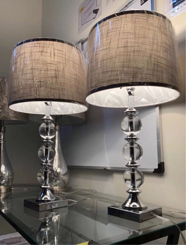 "New in box 2 pack bridgeport designs table light modern style elegant 29"" tall table lamps with natural shade lamp"