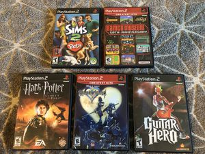 Five ps2 PlayStation 2 video games - kingdom hearts, Harry Potter, sims, guitar hero, Nanci for Sale in San Francisco, CA