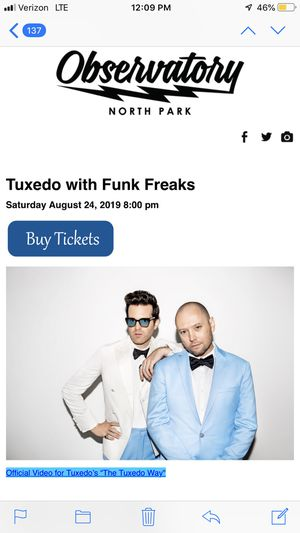 2 tickets Mayer Hawthorne. Tuxedo for Sale in Chula Vista, CA