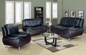 New black faux leather three piece sofa set for Sale in Kent, WA