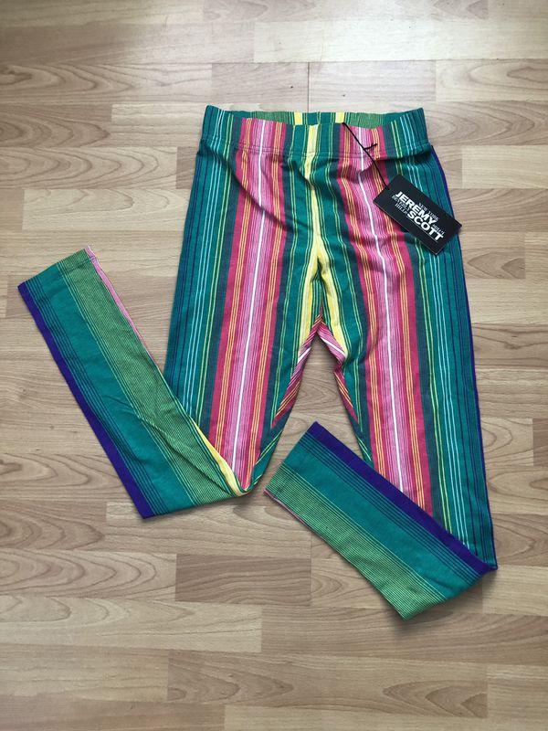 Jeremy Scott Long Leggings 80's Look Women Striped Pants Multicolor Size Medium