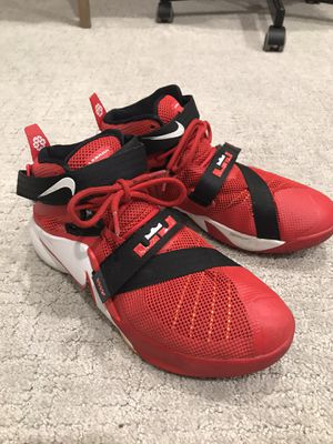 Nike Lebron James Soldier IX University Red White Black Size 7 youth for Sale in San Marcos, CA