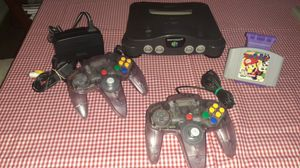Nintendo 64 w Mario party game 2 original purple clear controllers and cables for Sale in National City, CA