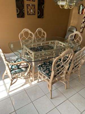 Breakfast table with glass top 6 chairs $300 for Sale in Bloomington, IL