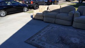 Free furniture, coach loveseat, chair and rug. Pickup today only . Is in fair condition. 7104 El Veloz Way in Buena Park for Sale in Buena Park, CA