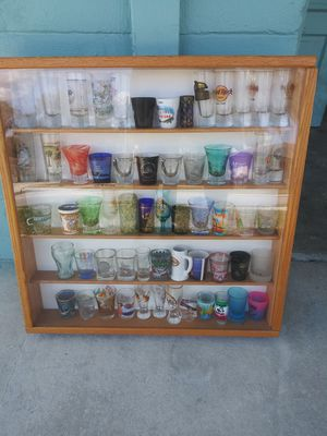 Assorted shot glasses from all over the world in custom made case for Sale in Lakeland, FL